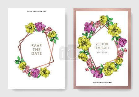 Illustration for Vector elegant invitation cards with purple, yellow and pink peonies illustration on white background with save the date lettering. - Royalty Free Image