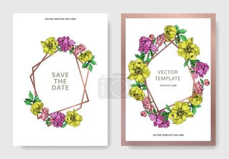 Ilustración de Tarjetas de invitación elegante vector con ilustración de peonías color púrpura, amarillo y rosa sobre fondo blanco con guardar la fecha de inscripción - Imagen libre de derechos