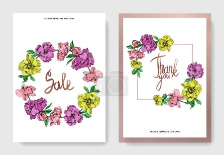 Illustration for Vector elegant cards with purple, yellow and pink peonies illustration and sale and thank you lettering on white background. - Royalty Free Image