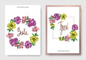 Vector elegant cards with purple yellow and pink peonies illustration and sale and thank you lettering on white background