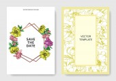 Vector elegant invitation cards with purple yellow and pink peonies illustration on white background with save the date lettering