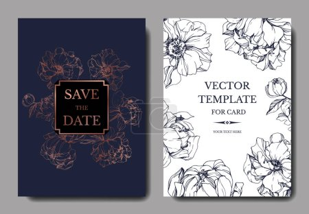 Illustration for Vector elegant invitation cards with golden and blue peonies illustration on white and blue background with save the date lettering. - Royalty Free Image