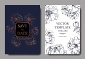 Vector elegant invitation cards with golden and blue peonies illustration on white and blue background with save the date lettering