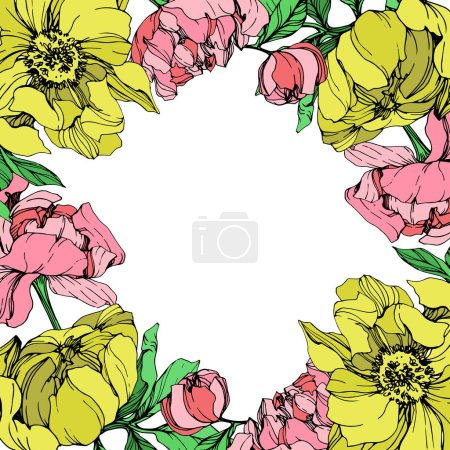 Illustration for Vector isolated pink and yellow peonies with green leaves on white background. Engraved ink art. Frame border ornament with copy space. - Royalty Free Image