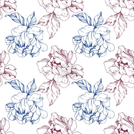 Illustration for Vector blue and burgundy isolated peonies sketch on white background. Engraved ink art. Seamless background pattern. Fabric wallpaper print texture. - Royalty Free Image