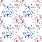 Vector blue and burgundy isolated peonies sketch on white background Engraved ink art Seamless background pattern Fabric wallpaper print texture