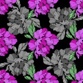 Vector purple and grey isolated peonies illustration on black background Engraved ink art Seamless background pattern Fabric wallpaper print texture