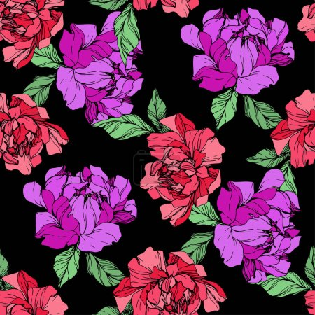 Photo for Vector purple and living coral isolated peonies illustration on black background. Engraved ink art. Seamless background pattern. Fabric wallpaper print texture. - Royalty Free Image