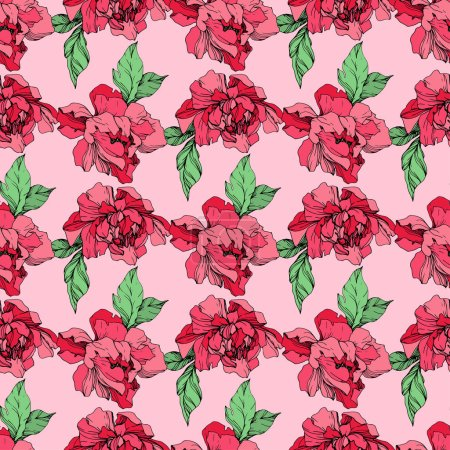 Illustration for Vector purple and living coral isolated peonies illustration on pink background. Engraved ink art. Seamless background pattern. Fabric wallpaper print texture. - Royalty Free Image