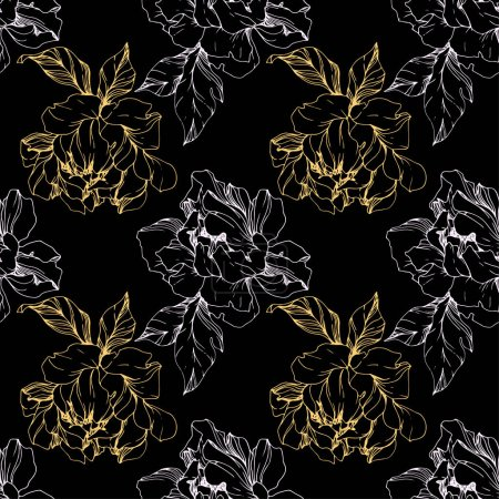 Illustration for Vector white and golden isolated peonies sketch on black background. Engraved ink art. Seamless background pattern. Fabric wallpaper print texture. - Royalty Free Image