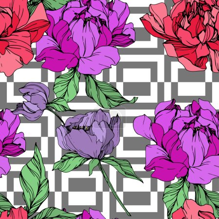 Illustration for Vector purple and living coral peonies illustration with geometrical ornament on white background. Engraved ink art. Seamless background pattern. Fabric wallpaper print texture. - Royalty Free Image