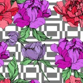 Vector purple and living coral peonies illustration with geometrical ornament on white background Engraved ink art Seamless background pattern Fabric wallpaper print texture