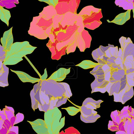 Illustration for Vector purple and living coral isolated peonies illustration on black background. Engraved ink art. Seamless background pattern. Fabric wallpaper print texture. - Royalty Free Image