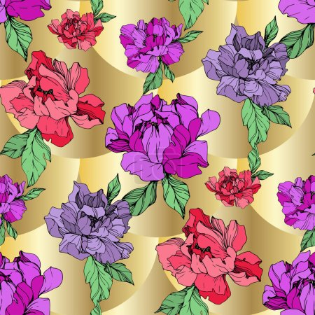 Illustration for Vector purple and living coral peonies illustration on golden background. Engraved ink art. Seamless background pattern. Fabric wallpaper print texture. - Royalty Free Image