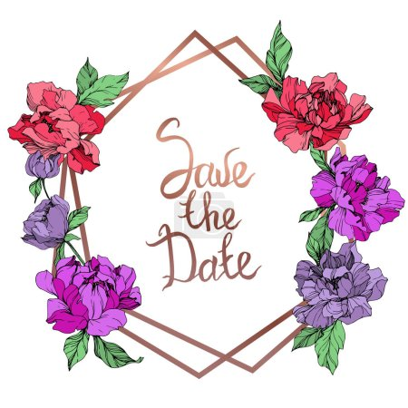 Illustration for Vector living coral and purple isolated peonies on white background. Engraved ink art. Frame border ornament with save the date lettering. - Royalty Free Image
