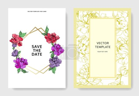Illustration for Vector wedding elegant invitation cards with purple, yellow and living coral peonies on white background with save the date and thank you inscriptions. - Royalty Free Image