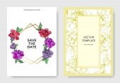 Vector wedding elegant invitation cards with purple yellow and living coral peonies on white background with save the date and thank you inscriptions