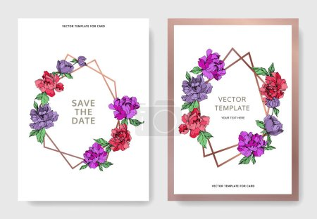 Illustration for Vector elegant cards with purple and living coral peonies on white background and sale and save the date inscription. - Royalty Free Image