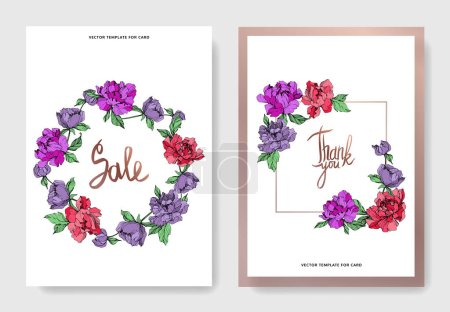 Illustration for Vector elegant cards with purple and living coral peonies on white background and sale and thank you inscriptions. - Royalty Free Image