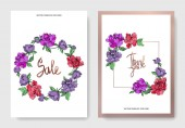Vector elegant cards with purple and living coral peonies on white background and sale and thank you inscriptions