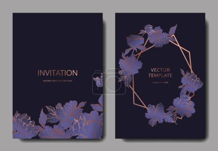 Illustration for Vector wedding elegant invitation cards with purple peonies on black background. - Royalty Free Image