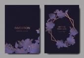 Vector wedding elegant invitation cards with purple peonies on black background