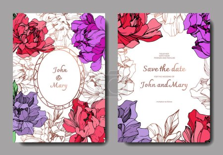 Illustration for Vector wedding elegant invitation cards with purple, golden and living coral peonies on white background with save the date inscription. - Royalty Free Image