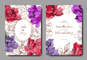 Vector wedding elegant invitation cards with purple golden and living coral peonies on white background with save the date inscription