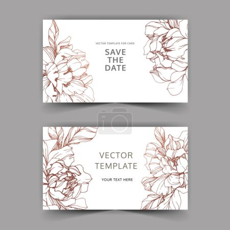 Illustration for Vector wedding elegant invitation cards with golden peonies on white background with save the date inscription. - Royalty Free Image