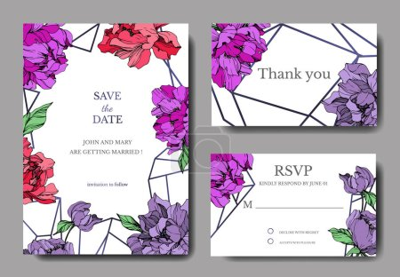 Illustration for Vector wedding elegant invitation cards with purple and living coral peonies on white background with save the date and thank you inscriptions. - Royalty Free Image