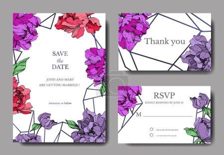 Ilustración de Tarjetas de invitación elegante de la boda vector con peonías coral vida y púrpura sobre fondo blanco con guardar las inscripciones fecha y muchas gracias - Imagen libre de derechos