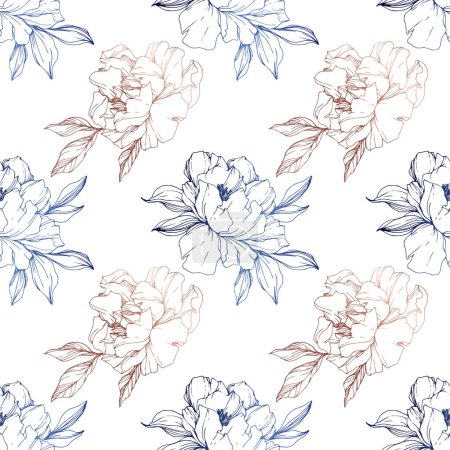 Illustration for Vector blue and golden isolated peonies sketch on white background. Engraved ink art. Seamless background pattern. Fabric wallpaper print texture. - Royalty Free Image