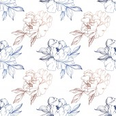 Vector blue and golden isolated peonies sketch on white background Engraved ink art Seamless background pattern Fabric wallpaper print texture