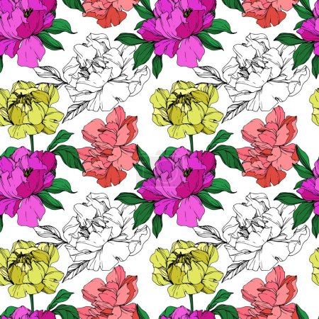 Illustration for Vector purple, living coral and yellow isolated peonies illustration and sketch on white background. Engraved ink art. Seamless background pattern. Fabric wallpaper print texture. - Royalty Free Image