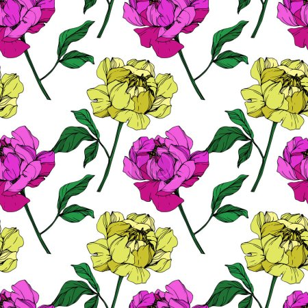 Illustration for Vector purple and yellow isolated peonies illustration on white background. Engraved ink art. Seamless background pattern. Fabric wallpaper print texture. - Royalty Free Image