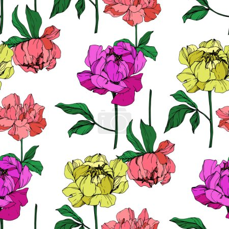 Illustration for Vector purple, living coral and yellow isolated peonies illustration on white background. Engraved ink art. Seamless background pattern. Fabric wallpaper print texture. - Royalty Free Image