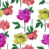 Vector purple living coral and yellow isolated peonies illustration on white background Engraved ink art Seamless background pattern Fabric wallpaper print texture