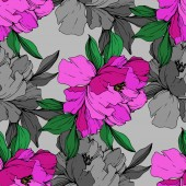 Vector purple and grey isolated peonies illustration on grey background Engraved ink art Seamless background pattern Fabric wallpaper print texture