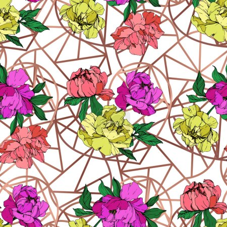 Illustration for Vector purple, living coral and yellow peonies illustration with geometrical ornament. Engraved ink art. Seamless background pattern. Fabric wallpaper print texture. - Royalty Free Image