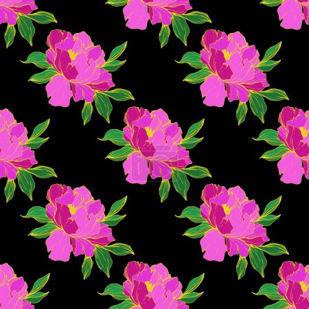 Illustration for Vector purple isolated peonies illustration on black background. Engraved ink art. Seamless background pattern. Fabric wallpaper print texture. - Royalty Free Image