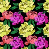 Vector purple living coral and yellow  isolated peonies illustration on black background Engraved ink art Seamless background pattern Fabric wallpaper print texture