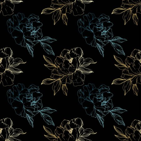 Illustration for Vector golden and blue isolated peonies sketch on black background. Engraved ink art. Seamless background pattern. Fabric wallpaper print texture. - Royalty Free Image