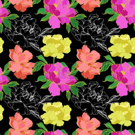 Illustration for Vector purple, living coral and yellow  isolated peonies illustration on black background. Engraved ink art. Seamless background pattern. Fabric wallpaper print texture. - Royalty Free Image