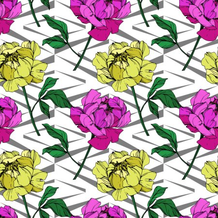 Illustration for Vector purple and yellow peonies illustration with geometrical ornament. Engraved ink art. Seamless background pattern. Fabric wallpaper print texture. - Royalty Free Image
