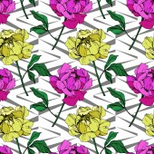 Vector purple and yellow peonies illustration with geometrical ornament Engraved ink art Seamless background pattern Fabric wallpaper print texture