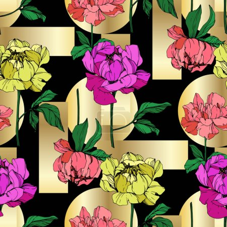 Illustration for Vector purple, yellow and living coral peonies illustration with golden geometrical ornament. Engraved ink art. Seamless background pattern. Fabric wallpaper print texture. - Royalty Free Image