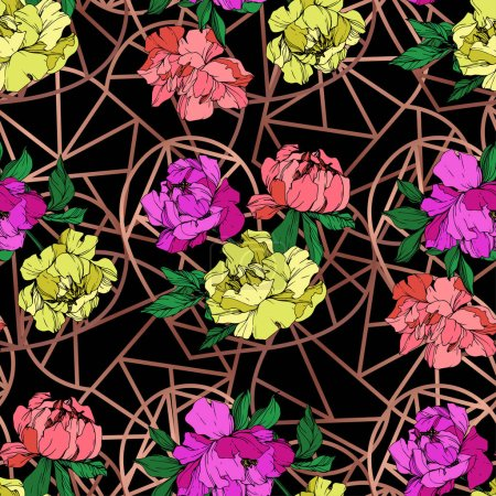 Illustration for Vector purple, living coral and yellow peonies illustration with geometrical ornament on black background. Engraved ink art. Seamless background pattern. Fabric wallpaper print texture. - Royalty Free Image