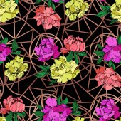 Vector purple living coral and yellow peonies illustration with geometrical ornament on black background Engraved ink art Seamless background pattern Fabric wallpaper print texture