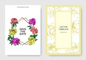 Vector wedding elegant invitation cards with purple yellow and living coral peonies illustration on white background