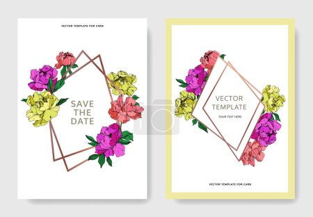 Illustration for Vector wedding elegant invitation cards with purple, yellow and living coral peonies illustration on white background. - Royalty Free Image
